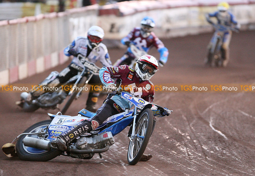 Heat 4: Piotr Swiderski (red), Darcy Ward (white), Kim Nilsson (blue) and Jerran Hart (yellow) - Lakeside Hammers vs Poole Pirates, Elite League Speedway at the Arena Essex Raceway, Purfleet - 22/07/11 - MANDATORY CREDIT: Rob Newell/TGSPHOTO - Self billing applies where appropriate - 0845 094 6026 - contact@tgsphoto.co.uk - NO UNPAID USE.