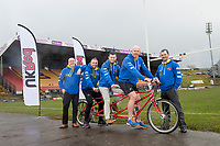 Picture by Allan McKenzie/SWpix.com - 04/04/2018 - Rubgy League - RL Cares Ride to Wembley - Provident Stadium, Bradford, England - Dean Bettison and Kevin Walton of UK Red with Andy Lynch, Robbie Hunter-Paul & Keith Senior on one of  the tandems to be used on the RL Cares Ride to Wembley.