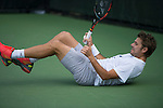March 23 2016: Stanislas Wawrinka (SUI) takes a graceful spill during practice at the Miami Open being played at Crandon Park Tennis Center in Miami, Key Biscayne, Florida.