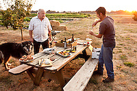 """Watch the dog dad, while I pour some wine"" evening picnic supper with farmers, Viridian Farms, Oregon"
