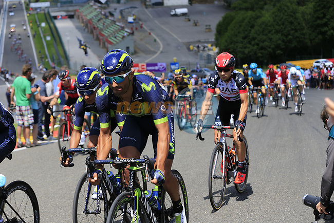 The peloton climb Eau Rouge on the famous Spa-Francorchamps Motor Circuit during Stage 3 of the 104th edition of the Tour de France 2017, running 212.5km from Verviers, Belgium to Longwy, France. 3rd July 2017.<br /> Picture: Eoin Clarke | Cyclefile<br /> <br /> All photos usage must carry mandatory copyright credit (&copy; Cyclefile | Eoin Clarke)