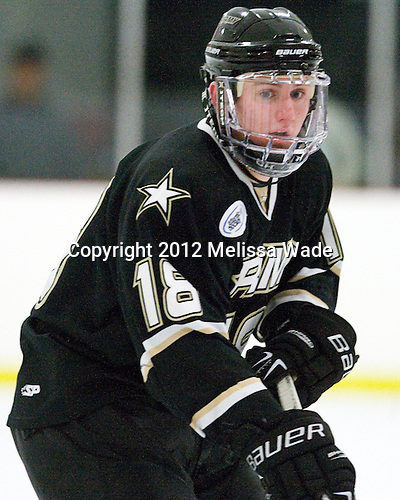 Mac Lalor (Army - 18) - The visiting Army Black Knights defeated the Bentley University Falcons 3-1 on Saturday, January 28, 2012, at the John A. Ryan Skating Arena in Watertown, Massachusetts.