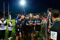 The Bath Rugby team looks dejected after the match. Heineken Champions Cup match, between Stade Toulousain and Bath Rugby on January 20, 2019 at the Stade Ernest Wallon in Toulouse, France. Photo by: Patrick Khachfe / Onside Images