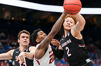 NWA Democrat-Gazette/CHARLIE KAIJO Arkansas Razorbacks forward Darious Hall (20) blocks a pass intended for South Carolina Gamecocks guard Hassani Gravett (2) as forward Chris Silva (30) trails behind during the Southeastern Conference Men's Basketball Tournament, Thursday, March 8, 2018 at Scottrade Center in St. Louis, Mo.
