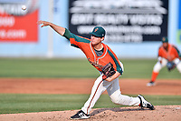 Greensboro Grasshoppers starting pitcher L.J. Brewster (22) delivers a pitch during a game against the  Asheville Tourists at McCormick Field on April 28, 2017 in Asheville, North Carolina. The Grasshoppers defeated the Tourists 7-4. (Tony Farlow/Four Seam Images)