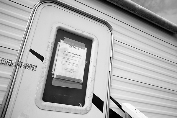 February 02, 2008. Baker, LA.. Renaissance Village trailer park for Louisiana residents displaced by Hurricanes Katrina and Rita. Over 2 years after the storms, hundreds of residents still live in the temporary trailer park, as they search for ways to move out and reestablish their lives.. Some people have left the park without notice and after a month FEMA adds abandonment notices to the doors of the empty trailers and then hauls them away.
