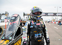 Feb 21, 2020; Chandler, Arizona, USA; NHRA top fuel driver Austin Prock during qualifying for the Arizona Nationals at Wild Horse Pass Motorsports Park. Mandatory Credit: Mark J. Rebilas-USA TODAY Sports