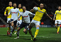 Leeds United's Luke Ayling clears despite the attentions of Preston North End's Alan Browne<br /> <br /> Photographer Kevin Barnes/CameraSport<br /> <br /> The EFL Sky Bet Championship - Preston North End v Leeds United -Tuesday 9th April 2019 - Deepdale Stadium - Preston<br /> <br /> World Copyright &copy; 2019 CameraSport. All rights reserved. 43 Linden Ave. Countesthorpe. Leicester. England. LE8 5PG - Tel: +44 (0) 116 277 4147 - admin@camerasport.com - www.camerasport.com