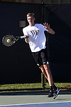 13 May 2016: Wake Forest's Christian Seraphim (GER). The Wake Forest University Demon Deacons hosted the Coastal Carolina University Chanticleers at the Wake Forest Tennis Center in Winston-Salem, North Carolina in a 2015-16 NCAA Division I Men's Tennis Tournament First Round match. Wake Forest won the match 4-0.
