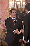 Paraguayan President Horacio Manuel Cartes Jara during the reception with Spanish Royals King Felipe VI of Spain and Queen Letizia of Spain at the Royal Palace in Madrid, Spain. June 09, 2015. (ALTERPHOTOS/Pool)