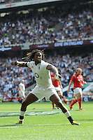 Marland Yarde of England punches the air in celebration after scoring a try during the Old Mutual Wealth Cup match between England and Wales at Twickenham Stadium on Sunday 29th May 2016 (Photo: Rob Munro/Stewart Communications)