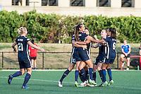 Allston, MA - Sunday July 17, 2016: Erica Skroski  celebrates scoring during a regular season National Women's Soccer League (NWSL) match between the Boston Breakers and Sky Blue FC at Jordan Field.