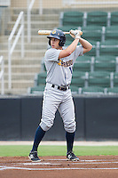 Dustin Fowler (18) of the Charleston RiverDogs at bat against the Kannapolis Intimidators at CMC-NorthEast Stadium on June 28, 2014 in Kannapolis, North Carolina.  The Intimidators defeated the RiverDogs 4-3. (Brian Westerholt/Four Seam Images)