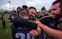 Foxton celebrates winning the 2019 Horowhenua-Kapiti premier club rugby Ramsbottom Cup final between Foxton and Waikanae at Levin Domain in Levin, New Zealand on Saturday, 20 July 2019. Photo: Dave Lintott / lintottphoto.co.nz