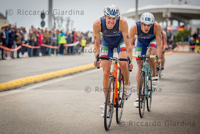 08/05/2016 - Davide Uccellari (ITA) during the bike leg at the Elite Men race, 2016 Cagliari ITU Triathlon World Cup -