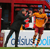 18th March 2018, Fir Park, Motherwell, Scotland; Scottish Premiership football, Motherwell versus Celtic;  Stephen Robinson passes instructions to Stephen Hendrie