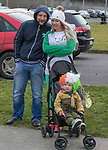 170318<br /> John and Caresse McGrath with 3 year old Alex during St Patricks Day parade in Shannon.Pic Arthur Ellis.