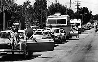 Motorists line up for gas during the gasoline shortage <br />