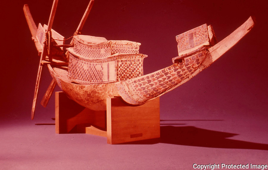 Egypt:  Model Boat--painted wood.  Treasures of Tutankhamun, Cairo Museum.   MMA  1976.