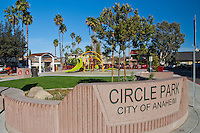 The entrance sign to Circle Park, a pocket park located on Park Circle Drive in Anaheim, California.  This is a relatively close-in view that still shows the details of the park.