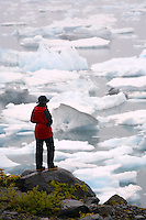 Hiker looks out to Columbia Bay, Prince William Sound, Chugach National Forest, Alaska.