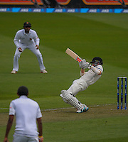 Kane Williamson ducks a bouncer during day one of the 2nd cricket test match between the New Zealand Black Caps and Sri Lanka at the Hawkins Basin Reserve, Wellington, New Zealand on Saturday, 3 February 2015. Photo: Dave Lintott / lintottphoto.co.nz