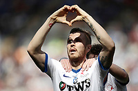 Calcio, Serie A: Roma, stadio Olimpico, 14 aprile 2017.<br /> Atalanta's Jasmin Kurtic celebrates after scoring during the Italian Serie A football match between Roma and Atalanta at Rome's Olympic stadium, April 14, 2017.<br /> UPDATE IMAGES PRESS/Isabella Bonotto