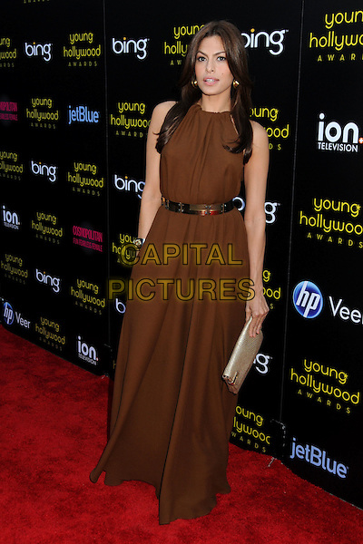 EVA MENDES.2011 Young Hollywood Awards Presented by Bing held at Club Nokia,  Los Angeles, California, USA, .20th May 2011. .full length brown long maxi dress  gold belt  clutch bag beige .CAP/ADM/BP.©Byron Purvis/AdMedia/Capital Pictures.