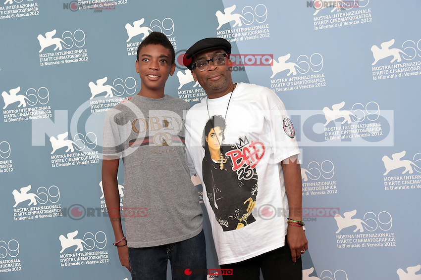 VENICE, ITALY - AUGUST 31: Director Spike Lee and Jackson Lee attend the 'Bad' And Jaeger-Le Coultre - Glory To The Filmmaker 2012 Award photocall during the 69th Venice Film Festival at the Palazzo del Casino on August 31, 2012 in Venice, Italy AFG / Mediapunchinc