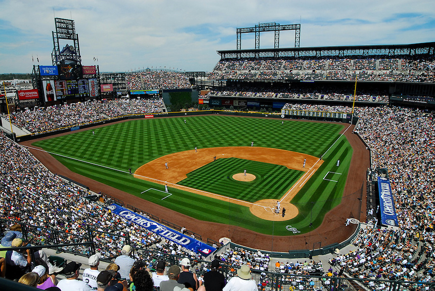August 23, 2009: A general overhead view of the nearly-full stands during a regular season game between the San Francisco Giants and the Colorado Rockies at Coors Field in Denver, Colorado. The Rockies beat the Giants 4-2. *****For editorial use only*****