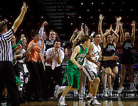 The sideline erupts as Provo's Mark Walker (24 in green) hit a three-pointer with 3 seconds left in overtime to put Provo ahead 48-45 and seal the win. Olympus's 24 is Crosby Styles (in white). Provo vs. Olympus boys 4A high school basketball tournament at the E Center.