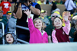 010213-- Oregon Ducks fans Wyatt Womack,2, and his sister,4, and Sophia Graham, 5, waves to the the Oregon Duck during the Ducks pep rally at Salt River Fields in Scotsdale, Arizona..Photo by Jaime Valdez.