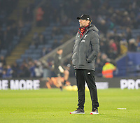 26th December 2019; King Power Stadium, Leicester, Midlands, England; English Premier League Football, Leicester City versus Liverpool; Liverpool Manager Jurgen Klopp looking at the Leicester City players warm up - Strictly Editorial Use Only. No use with unauthorized audio, video, data, fixture lists, club/league logos or 'live' services. Online in-match use limited to 120 images, no video emulation. No use in betting, games or single club/league/player publications