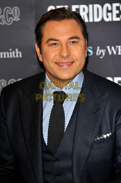 David Walliams.signs copies of his autobiography 'Camp David' at Selfridges London, England..October 12th, 2012.booksigning signing book headshot portrait blue suit shirt black tie .CAP/CJ.©Chris Joseph/Capital Pictures.