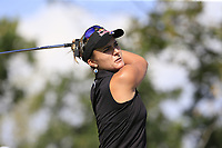 Lexi Thompson (USA) tees off the 5th tee during Thursday's Round 1 of The Evian Championship 2018, held at the Evian Resort Golf Club, Evian-les-Bains, France. 13th September 2018.<br /> Picture: Eoin Clarke | Golffile<br /> <br /> <br /> All photos usage must carry mandatory copyright credit (© Golffile | Eoin Clarke)