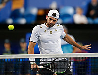 3rd January 2020; RAC Arena, Perth, Western Australia; ATP Cup Australia, Perth, Day 1, Russia versus Italy; Simone Bolelli of Italy plays a volley at the net during the doubles against Russia - Editorial Use