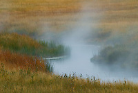 The Madison River steam with it's heated water from thermal springs as it winds through a fall grassland on a cold late autumn morning, Yellowstone National Park, Wyoming