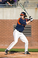 Dan Grovatt #21 of the Virginia Cavaliers at bat versus the East Carolina Pirates at Clark-LeClair Stadium on February 19, 2010 in Greenville, North Carolina.   Photo by Brian Westerholt / Four Seam Images