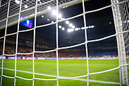 MILAN, ITALY - DECEMBER 10: Detailed view of goal net ahead of the UEFA Champions League group F match between Inter and FC Barcelona at Giuseppe Meazza Stadium on December 10, 2019 in Milan, Italy. (Photo by David Lidström Hultén/LPNA) ***BETALBILD***