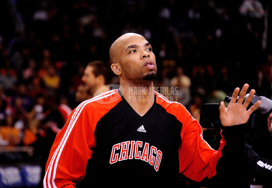 Jan. 22, 2010; Phoenix, AZ, USA; Chicago Bulls forward (22) Taj Gibson against the Phoenix Suns at the US Airways Center. Chicago defeated Phoenix 115-104. Mandatory Credit: Mark J. Rebilas-