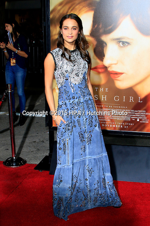 "LOS ANGELES - NOV 21:  Alicia Vikander at the ""The Danish Girl"" Premiere at the Village Theater on November 21, 2015 in Westwood, CA"