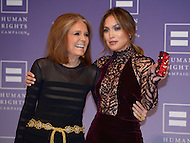 October 5, 2013  (Washington, DC)  Gloria Steinem and actress and entertainer Jennifer Lopez on the red carpet at the Human Rights Campaign National Dinner October 5, 2013. (Photo by Don Baxter/Media Images International)