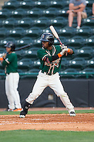 Mason Davis (7) of the Greensboro Grasshoppers at bat against the Hickory Crawdads at L.P. Frans Stadium on May 6, 2015 in Hickory, North Carolina.  The Crawdads defeated the Grasshoppers 1-0.  (Brian Westerholt/Four Seam Images)