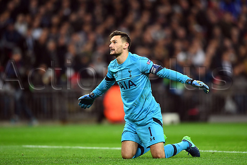 02.11.2016. Wembley, London, England. UEFA Champions League Football.  Goalkeeper Hugo Lloris of Tottenham Hotspurs reacts to going behind 0-1 during the UEFA Champions League Group E match between Tottenham Hotspurs and Bayer Leverkusen at Wembley Stadium