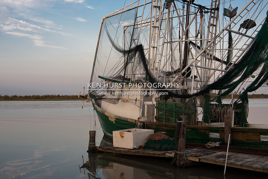 Shrimp boat at dock in Cameron, Louisiana.
