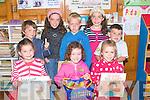 3744-3752.---------.Copybooks and Pencils.---------------------.All about learning at their first day at school at Scoil Dhu?n Chaoin were(front)L-R Sibe?al Ni? O?ga?in,Eibhli?s Ni? Iceadha,Holly Ni? Riain,(back) Pa?draig O? hIceadha,Caolan O? Riain,Aoife Ni? Iceadha agus Dara O? Du?ga?in.