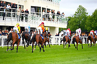 Horses go past the Winning Post after the finish  of The Wilton Homes Novice Stakes   during Evening Racing at Salisbury Racecourse on 11th June 2019