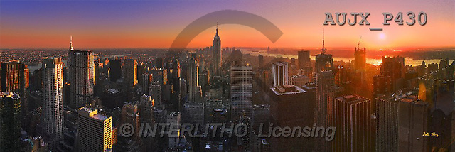 Dr. Xiong, LANDSCAPES, panoramic, photos, Manhattan Sunset, USA(AUJXP430,#L#)