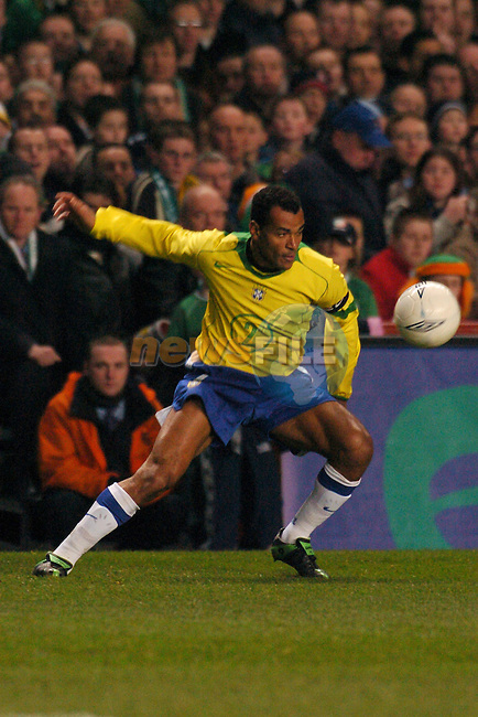 Dublin Ireland, Brazils No 2 Cafu in action during Brazil and Irelands Friendly soccer international at lansdowne Road, Dublin Ireland 18th February 2004.Photo AFP/NEWSFILE/FRAN CAFFREY..(Photo credit should read FRAN CAFFREY/NEWSFILE/AFP)...This Picture has been sent you under the condtions enclosed by:.Newsfile Ltd..the Studio,.Millmount Abbey,.Drogheda,.Co Meath..Ireland..Tel: +353(0)41-9871240.Fax: +353(0)41-9871260.GSM: +353(0)86-2500958.email: pictures@newsfile.ie.www.newsfile.ie.FTP: 193.120.102.198..This picture is from Fran Caffrey@newsfile.ie