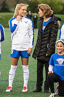 Allston, MA - Saturday, May 07, 2016: Boston Breakers midfielder Kristie Mewis (19) and her mother during a regular season National Women's Soccer League (NWSL) match at Jordan Field.